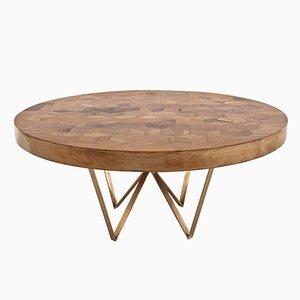 Tavolo rotondo Maurits in legno di quercia riciclato con intarsi di Fred&Juul