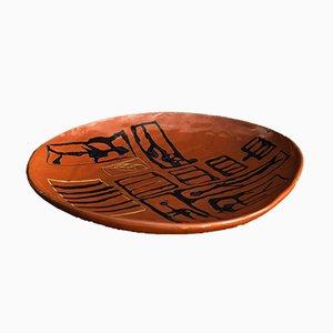 Fuente vintage grande de cerámica de arte abstracto