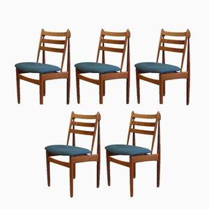 J60 Esszimmerstühle aus Eiche von Poul Volther für FDB Møbler, 1950er, 5er Set