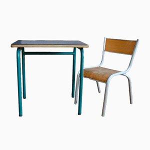 Banco e sedia scolastici blu scuro, anni '60