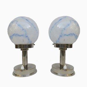 Lampade da tavolo piccole vintage Art Déco di FM, set di 2