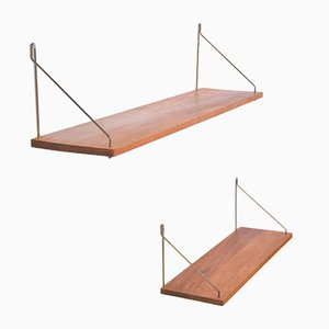 Vintage Danish Floating Teak Shelves, Set of 2