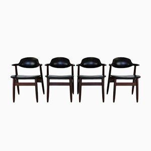 Niederländische Cowhorn Esszimmerstühle von Tijsseling für Hulmefa Nw-Pekela Holland, 1960er, 4er Set