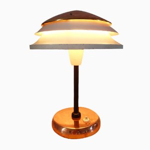 Czechoslovak Art Deco 6643 Red Copper & Metal Table Lamp from Zukov, 1940s