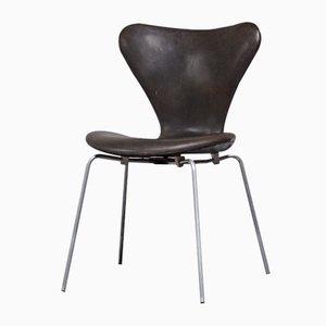 Silla 3107 danesa de cuero de Arne Jacobsen para Fritz Hansen, 1962