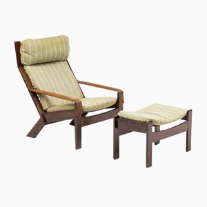 Vintage Scandinavian Architectural Lounge Chair with Footstool