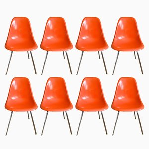 DSX Fiberglass Chairs by Charles & Ray Eames for Herman Miller, 1950s, Set of 8