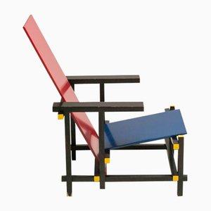Chaise Rouge et Bleue par Gerrit Thomas Rietveld pour Cassina, 1978