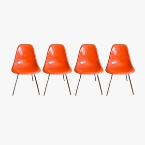 Chaises DSW Vintage Orange par Charles & Ray Eames pour Herman Miller, 1960s, Set de 4