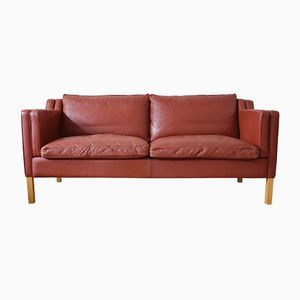Danish Cognac Leather Two-Seater Sofa from Stouby, 1980s