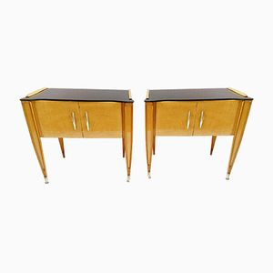 Italian Birch & Maple Nightstands, 1950s, Set of 2
