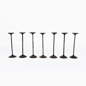 Cast Iron Candlesticks, 1940s, Set of 7