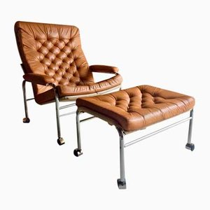 Bore Leder Sessel & Fußhocker von Noboru Nakamura für Ikea, 1970er