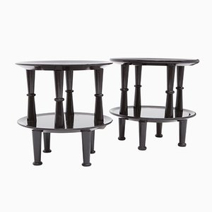 Italian Black Lacquered Side Tables, 1950s, Set of 2