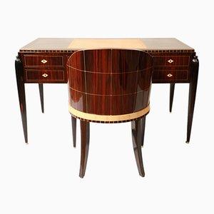 Scrivania e sedia Art Deco, anni '20, set di 2