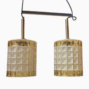Double Lampe à Suspension Mid-Century en Verre et Laiton de Orrefors, 1960s