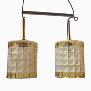 Mid-Century Glass & Brass Dual Pendant Lamp from Orrefors, 1960s