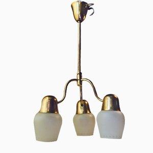 Lampada da soffitto Mid-Century in vetro opalino e ottone di Asea, anni '50