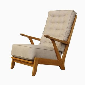 Vintage Dutch Art Deco Modernist Oak Armchair by Bas van Pelt