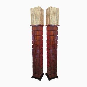 Lámparas de pie de madera y cristal de Murano, años 80. Juego de 2
