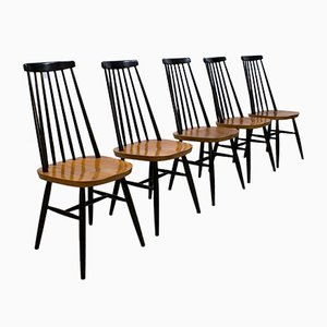 Vintage Spindle Back Mademoiselle Dining Chairs by Ilmari Tapiovaara, Set of 5