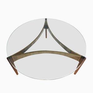 Table Basse en Palissandre et Verre par Sven Ellekær pour Chr. Linneberg Møbelfabrik, Danemark