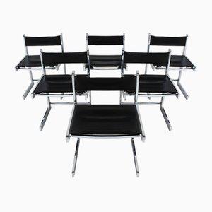 Sedie da pranzo Mid-Century moderne in metallo cromato, set di 6