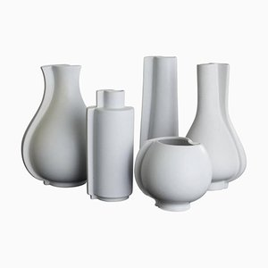 Vintage Swedish Surrea Stoneware Vases by Wilhelm Kåge for Gustavsberg, Set of 5