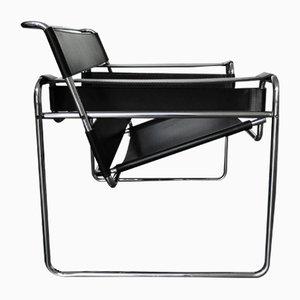 B3 Wassily Stuhl aus Schwarzem Leder von Marcel Breuer für Gavina, 1960er