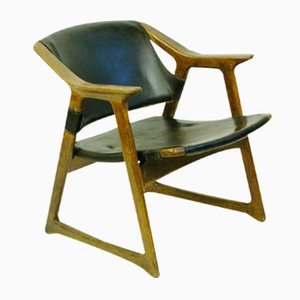 Butaca escandinava moderna de cuero de Edvin Helseth, años 60