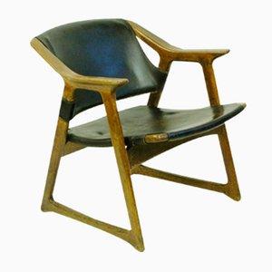 Scandinavian Modern Leather Armchair by Edvin Helseth, 1960s
