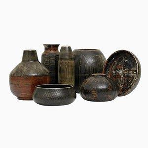 Cinq Vases et Deux Bols par Carl Harry Stålhane pour Rörstrand, 1960s