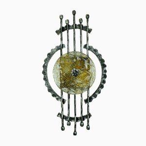 Lampada da terra vintage brutalista in ferro battuto e vetro