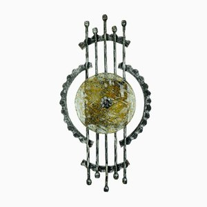 Vintage Brutalist Wall Lamp in Wrought Iron and Glass