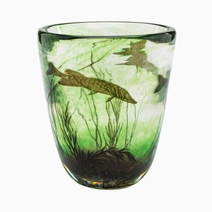Vintage Fishgraal Vase by Edward Hald for Orrefors, 1937