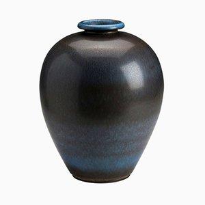 Vintage Blue and Brown Hare's Fur Glaze Vase by Berndt Friberg
