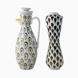 Vase et Carafe par Stig Lindberg pour Gustavsberg, Suède, 1940s