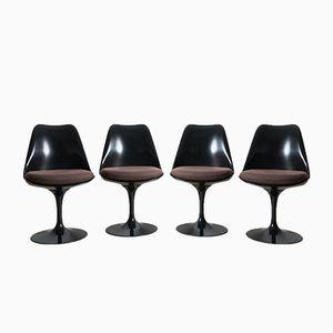 Schwarze Tulip Drehstühle von Eero Saarinen für Knoll International, 4er Set