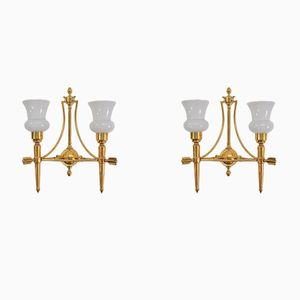 Mid-Century French Brass Arrow Sconces, Set of 2