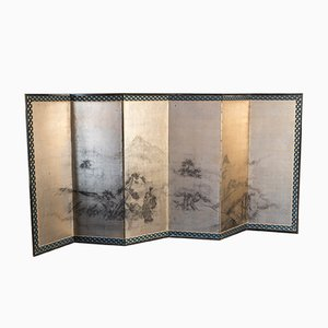 Antique Japanese Six-Panel Gold Leaf Screen