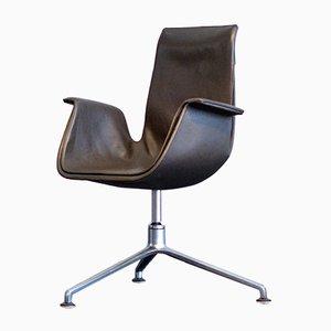 Vintage 6725 Leder Tulip Chair mit Drehfuß von Fabricius Kastholm für Kill International