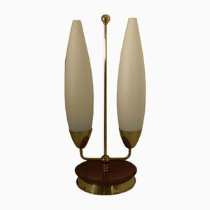 Lámpara vintage con dos pantallas de vidrio opalino