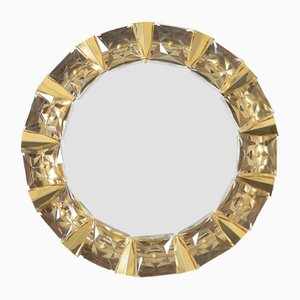 Espejo iluminado de latón dorado y vidrio de Kinkeldey, años 70