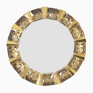 Specchio con luce in ottone dorato e vetro di Kinkeldey, anni '70