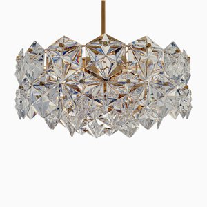 3-Tiered Pendant Lamp with 46 Faceted Crystals and Gilt Brass, from Kinkeldey, 1970s