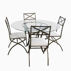 Juego de comedor francés vintage con mesa y 4 sillas de Pierre Vandel, años 70