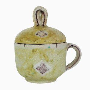 Tasse à Thé Studio Pottery avec Couvercle de Guido Gambone, Italie, 1940s