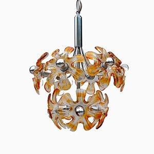 Lámpara de araña italiana de cristal de Murano y cromo de Mazzega, años 70