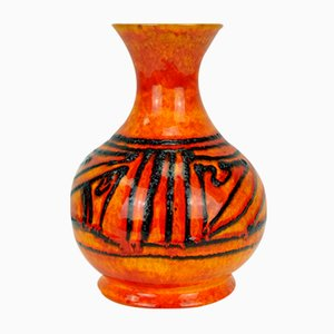 Leuchtend Orange Gemusterte Modell 710/22 Fat Lava Vase von Walter Gerhards für Gerhards, 1960er