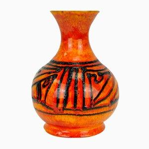 Model 710/22 Light Orange Patterned Fat Lava Vase by Walter Gerhards for Gerhards, 1960s